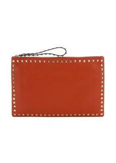 Valentino burnt orange leather 'Rockstud' medium clutch