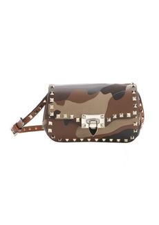 Valentino camel and brown camouflage patchwork leather 'Rockstud' shoulder bag