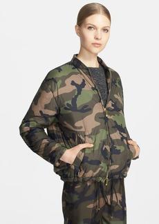 Valentino Camo Print Puffy Bomber Jacket
