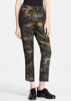 Valentino Camo Print Silk Ankle Pants