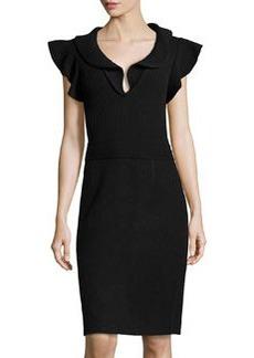 Valentino Cap-Sleeve Rib-Knit Fitted Dress, Black
