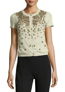 Valentino Cashmere-Blend Flower-Beaded Tulle Knit Cardigan, Green