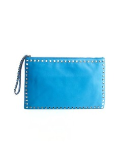 Valentino cerulean leather 'Rockstud' large clutch