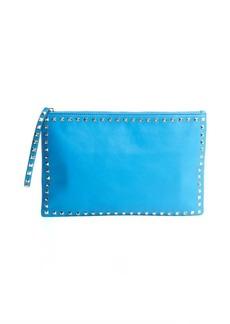 Valentino cerulean leather 'Rockstud' oversized zip clutch