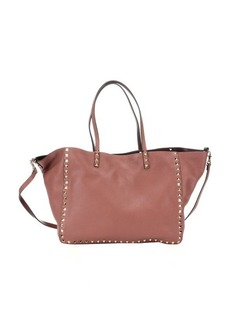 Valentino cocoa and chestnut leather reversible 'Rockstud' convertible trapeze tote