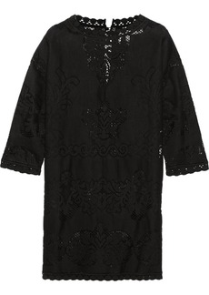 Valentino Crochet knit-paneled cotton-blend dress