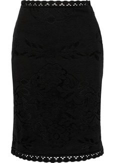 Valentino Crocheted cotton pencil skirt