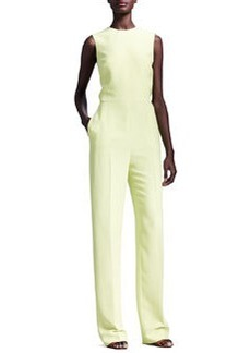 Valentino Cutout-Back Sleeveless Jumpsuit, Citron