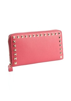 Valentino cyclamen pink leather studded detail continental wallet