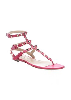 Valentino cyclamino pink leather 'Rockstud' gladiator sandals