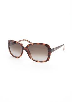 Valentino dark havana square scalloped sunglasses