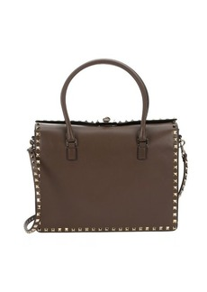 Valentino dark noisette leather 'Rockstud' convertible top handle bag