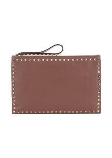 Valentino dusty rose leather 'Rockstud' medium clutch