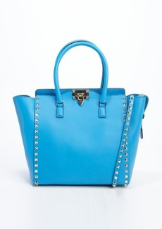 Valentino electric blue leather 'Rockstud' studded detail small convertible tote