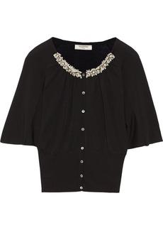Valentino Embellished fine-knit cardigan