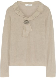 Valentino Embellished linen-blend sweater