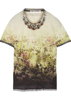 Valentino Embellished printed jersey top