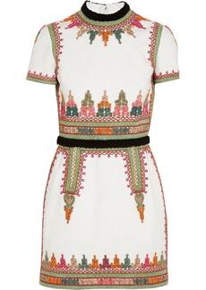 Valentino Embroidered cotton-canvas mini dress