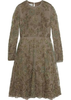 Valentino Embroidered metallic silk-tulle dress