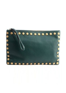Valentino emerald leather studded trim large clutch