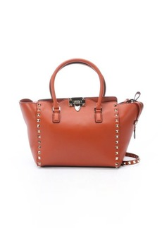 Valentino english red leather small studded trapeze tote