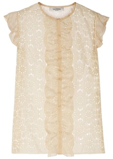 Valentino Floral-embroidered chiffon top