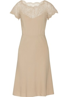 Valentino Floral-lace and crepe dress