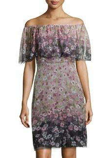 Valentino Floral-Print Ruffled-Overlay Chiffon Dress