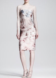 Valentino Fluid Garden Floral-Print Lace-Top Dress