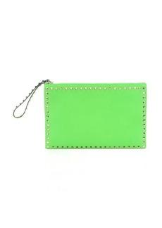 Valentino fluorescent green leather 'Rockstud' oversized zip clutch