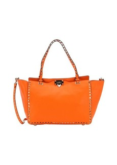 Valentino fluroscent orange leather 'Rockstud' medium convertible tote bag