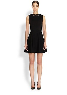Valentino Fringe-Collar Flare Dress