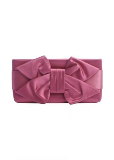 Valentino fuchsia satin bow detail clutch