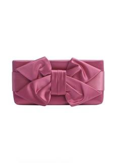 Valentino fuchsia satin bow detail clutch