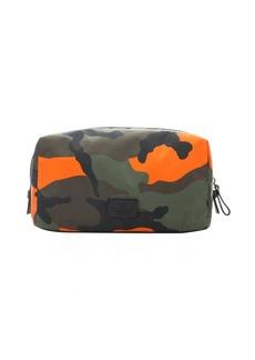 Valentino green and fluorescent orange camouflage nylon travel case