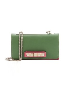 Valentino green and red leather 'Rockstud' convertible shoulder bag