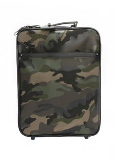 Valentino green camo fabric and leather rolling suitcase