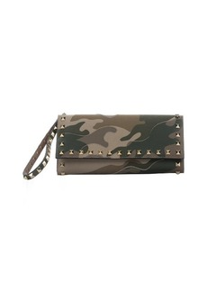 Valentino green camouflage studded canvas wallet clutch