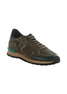 Valentino green leather and macramé lace studded sneakers