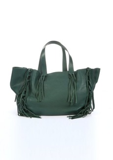 Valentino green leather knotted fringe trim tote