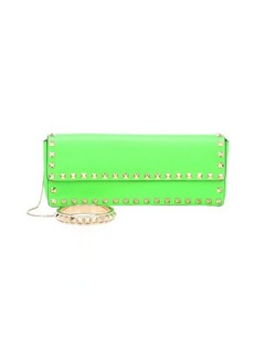 Valentino green leather 'Rockstud' bangle wristlet clutch