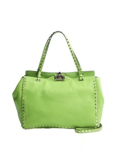 Valentino green leather 'Rockstud' medium tote bag