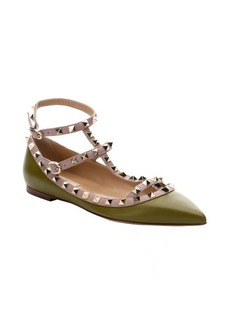 Valentino green leather 'Rockstud' pointed toe t-strap ballerina flats