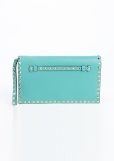 Valentino green leather 'Rockstud' studded accent wristlet clutch