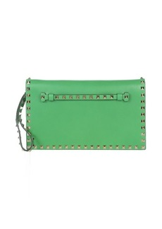 Valentino green leather 'Rockstud' studded clutch