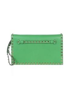 Valentino green leather 'Rockstud' studded clutch