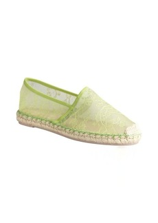 Valentino green mesh and lace espadrille trimmed slip on flats