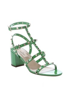 Valentino green patent leather 'Rockstud' t-strap sandals