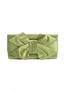 Valentino green satin bow detail clutch