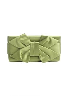 Valentino green satin bow detail clutch
